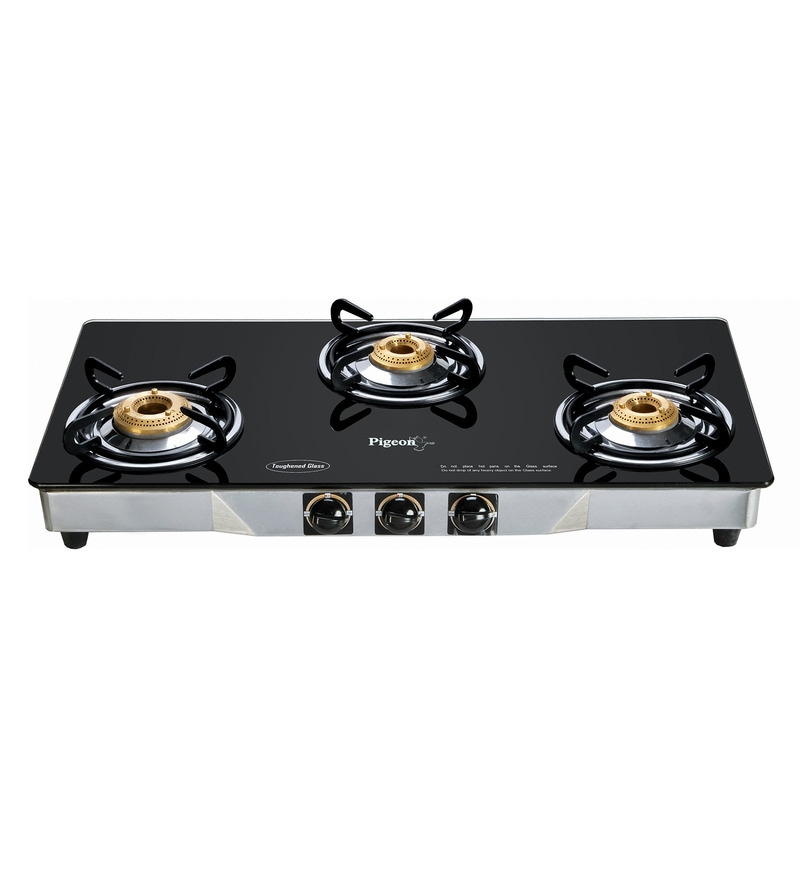 Pigeon Crystal SS and Brass 3-Burner LPG Gas Stove