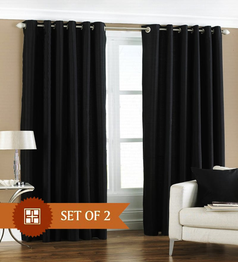 Black Polyester 60 x 48 Inch Solid Eyelet Window Curtain - Set of 2 by PIndia