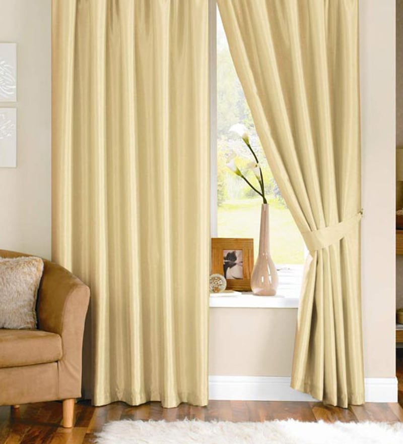 Cream Polyester 84 x 48 Inch Solid Eyelet Door Curtain - Set of 2 by PIndia