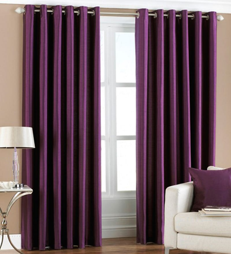 Purple Polyester 84 x 48 Inch Solid Eyelet Door Curtain - Set of 2 by PIndia