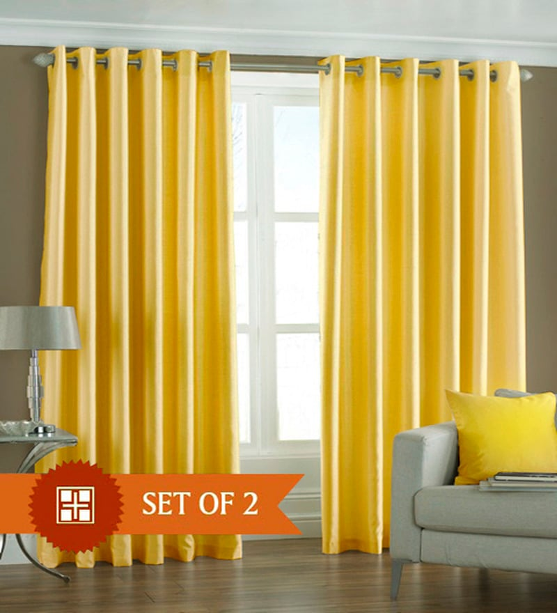 Yellow Polyester 84 x 48 Inch Solid Eyelet Door Curtain - Set of 2 by PIndia
