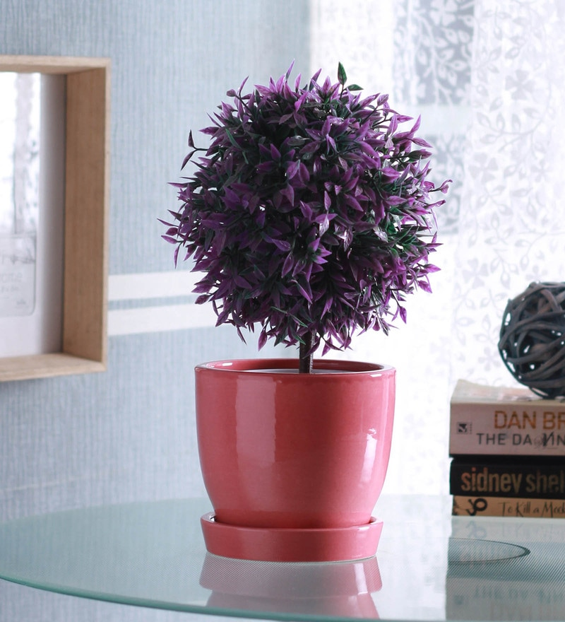 Pink Ceramic Glazed Planter with Saucer by Decardo