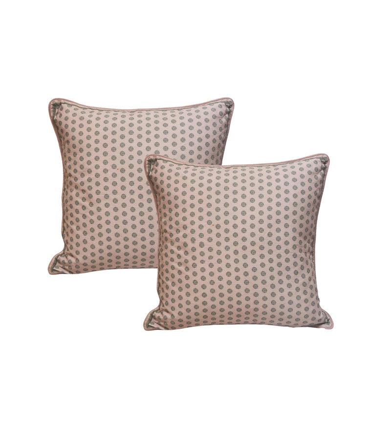 Pink Cotton 20 x 20 Inch Cushion Covers - Set of 2 by R Home