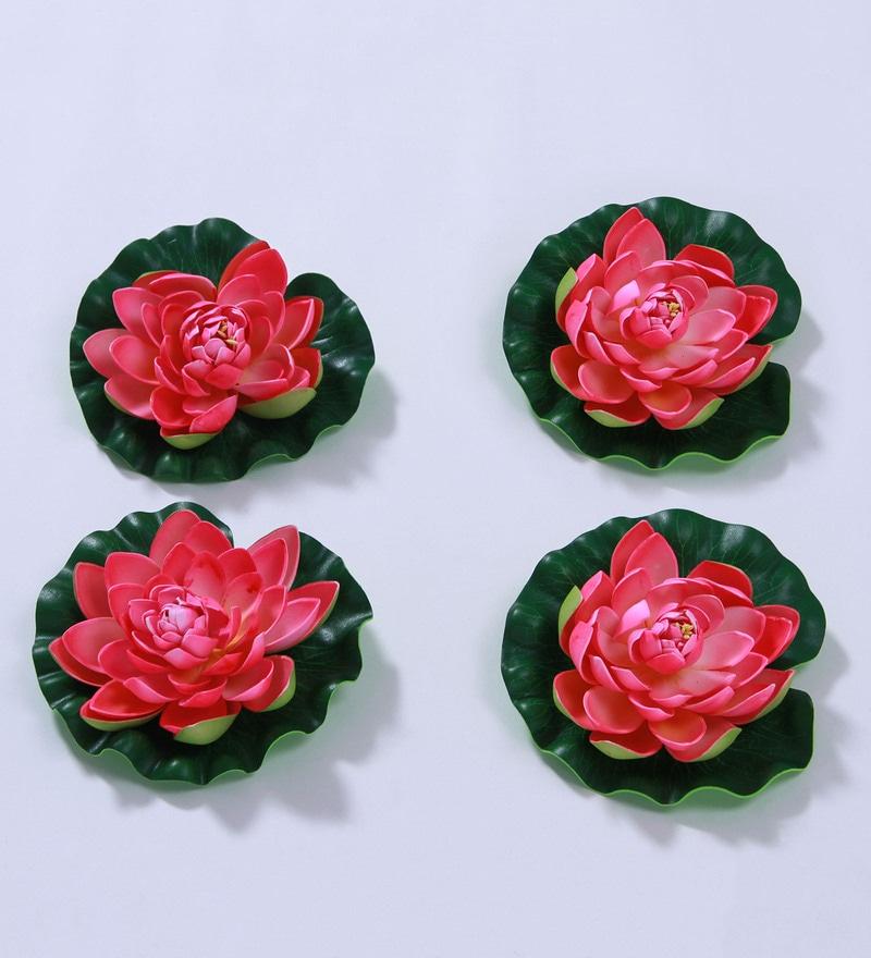 Pink Foam Artificial Lotus Flower by Fourwalls - Set of 4