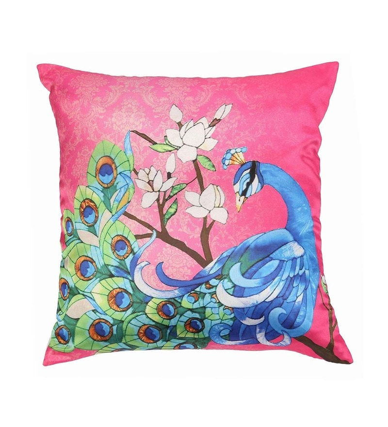 Pink Polyester 16x16 Inch Cushion Cover by Dreamscape