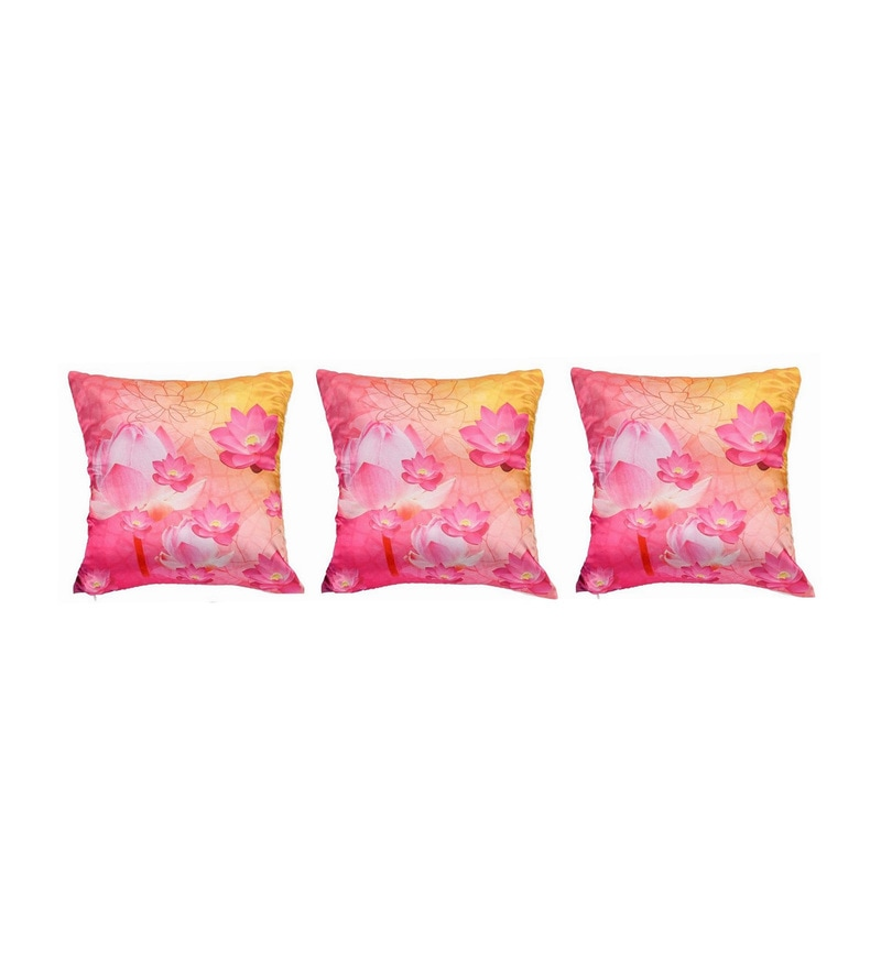 Pink Polyester 16x16 Inch Cushion Covers - Set of 3 by Dreamscape
