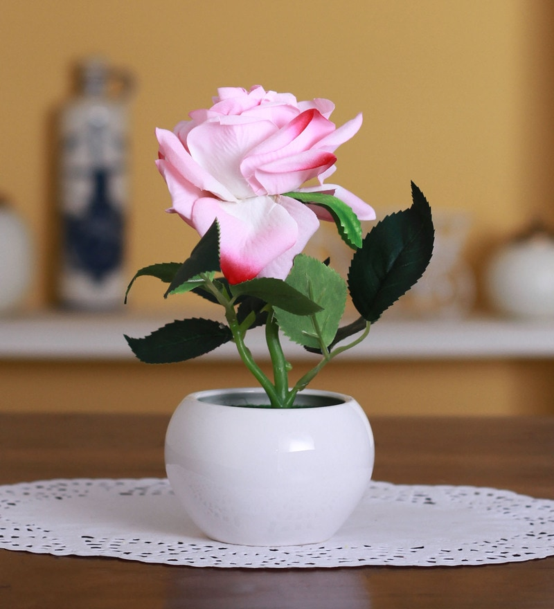 Pink Polyester Artificial Velvet Rose in a Ceramic Vase by Fourwalls