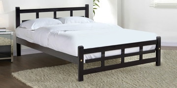 Plush Queen Size Bed In Rosewood Finish