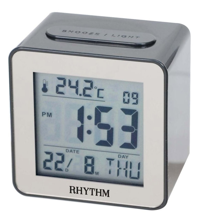 Plastic 2.8 x 2 x 2.8 Inch Lcd Clock Beep 7 Languages Display Selectable Clock by Rhythm