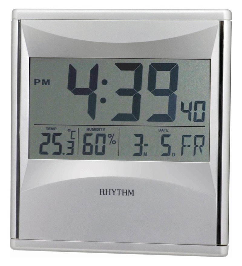 Plastic 8.1 x 1 x 8.9 Inch Lcd Clock Digital12-24 Hour Selectable Digital Clock by Rhythm