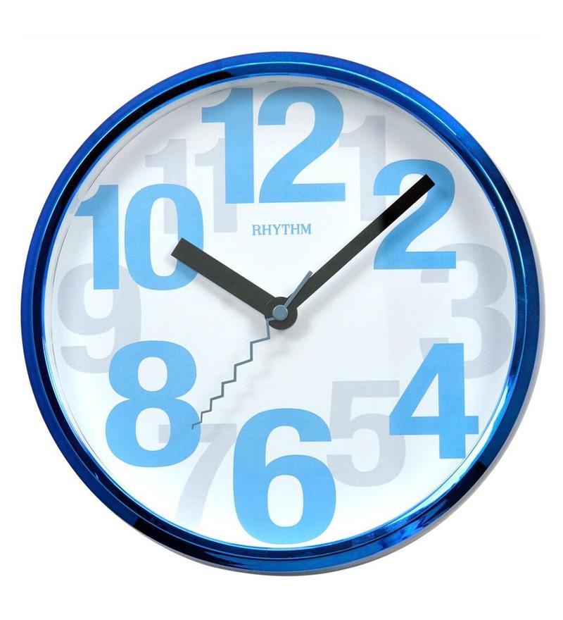 Plastic 9.4 x 1.8 x 9.4 Inch Wall Clock Silent Silky Move Analog Clock by Rhythm