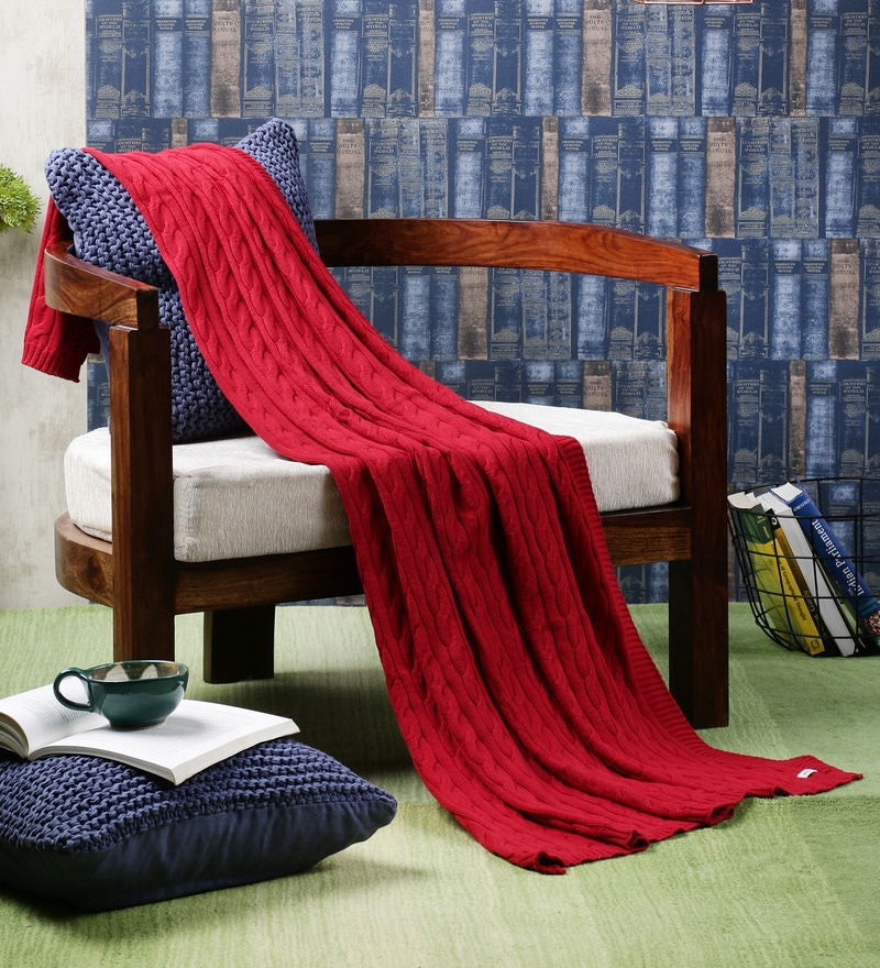 Broadway Red Cotton Single Throw Blanket by Pluchi