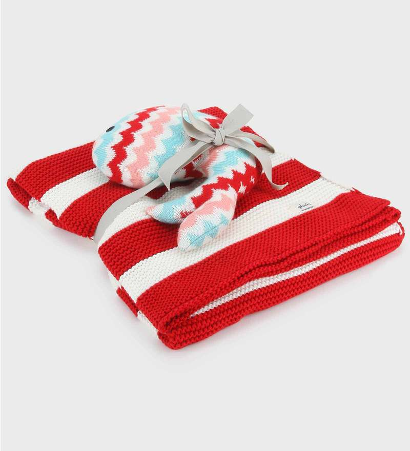 Lily Purl Knit Cotton Blanket with Whale Toy by Pluchi