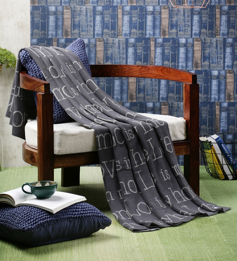Love Is In My Home Cotton Single Throw Blanket by Pluchi