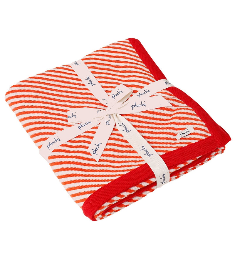 Stripes All The Way Baby Blanket in Orange & Ivory Colour by Pluchi