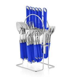Pogo Impression Stainless Steel 24 Pcs Cutlery Set- (Blue)