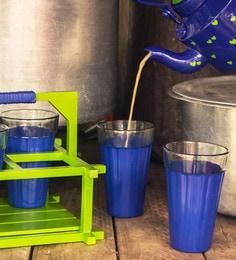 PoppadumArt Royal Blue & Green Glass 200 ML Chai Glasses - Set Of 5