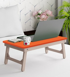 Portable Folding Laptop Cum Study Table In Orange Colour