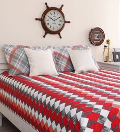 Portico New York Red Cotton Queen Size Geometric Print Bed Sheet With 2 Pillow Covers