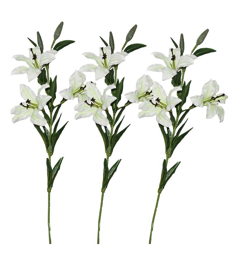 White Lily Artificial Flowers - Set of 3 by Pollination
