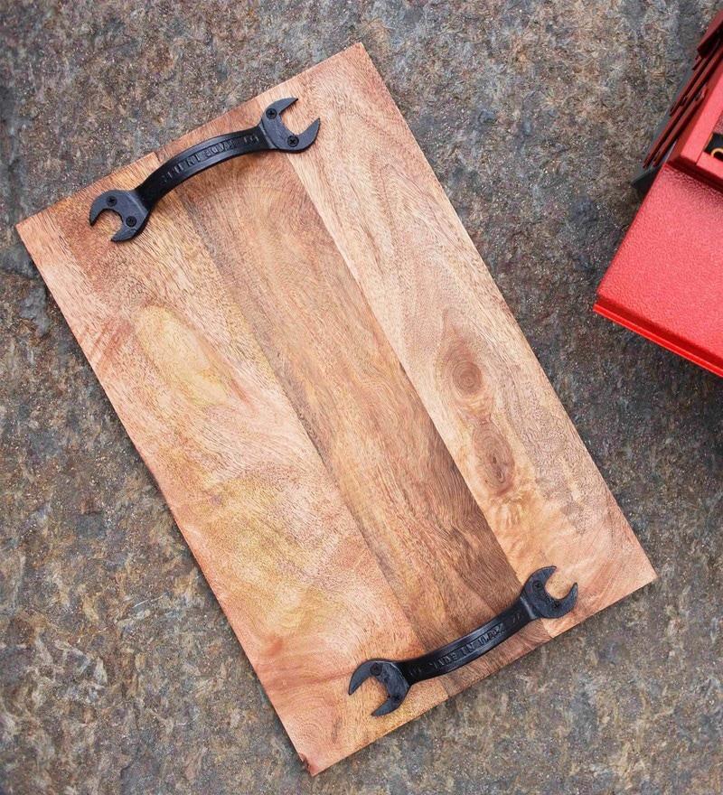Poppadum Art Spanner Brown Wood & Metal Tray