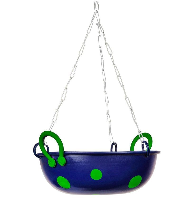 Kadhai Planter Royal Blue and Green by PoppadumArt