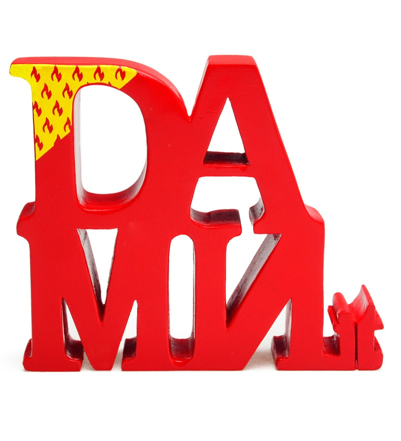 Red Wood Four Letter Words - Damnit Showpiece by PoppadumArt
