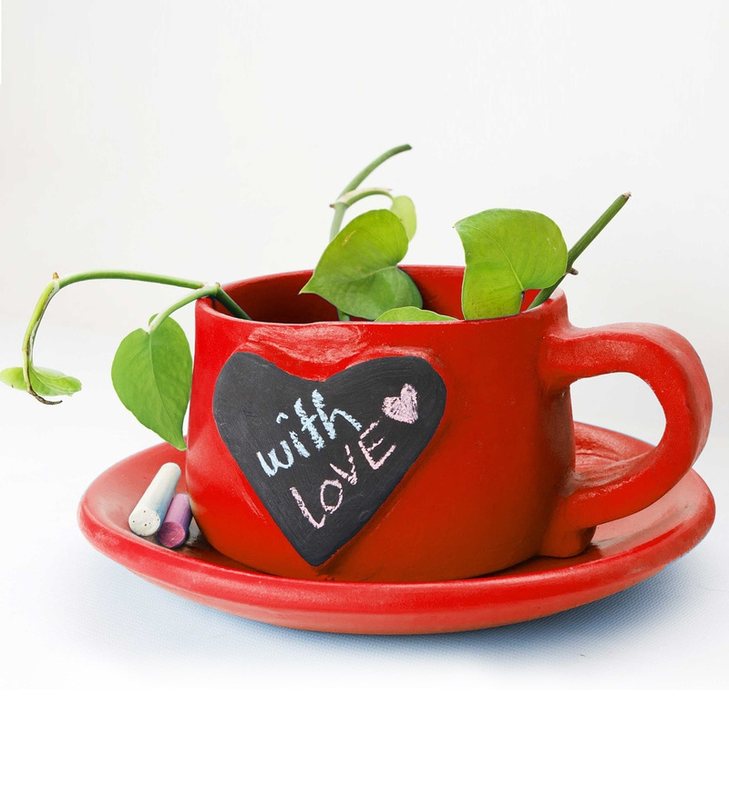 Writeinoninme Planter in Heart Red by PoppadumArt
