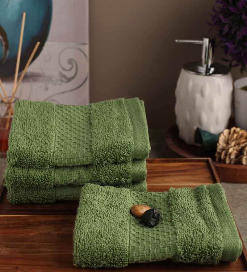 Portico New York Green Cotton 12 x 12 Inch Therapeia Fresh Face Towel - Set of 4