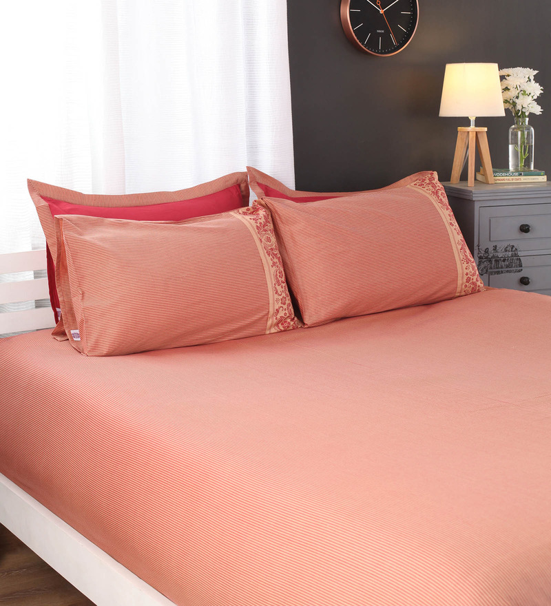 Oranges Solids Cotton King Size Bed Sheets - Set of 5 by Portico New York
