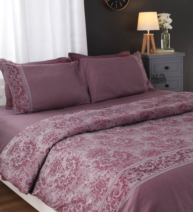 Purples Nature & Florals Cotton Queen Size Duvet Cover by Portico New York