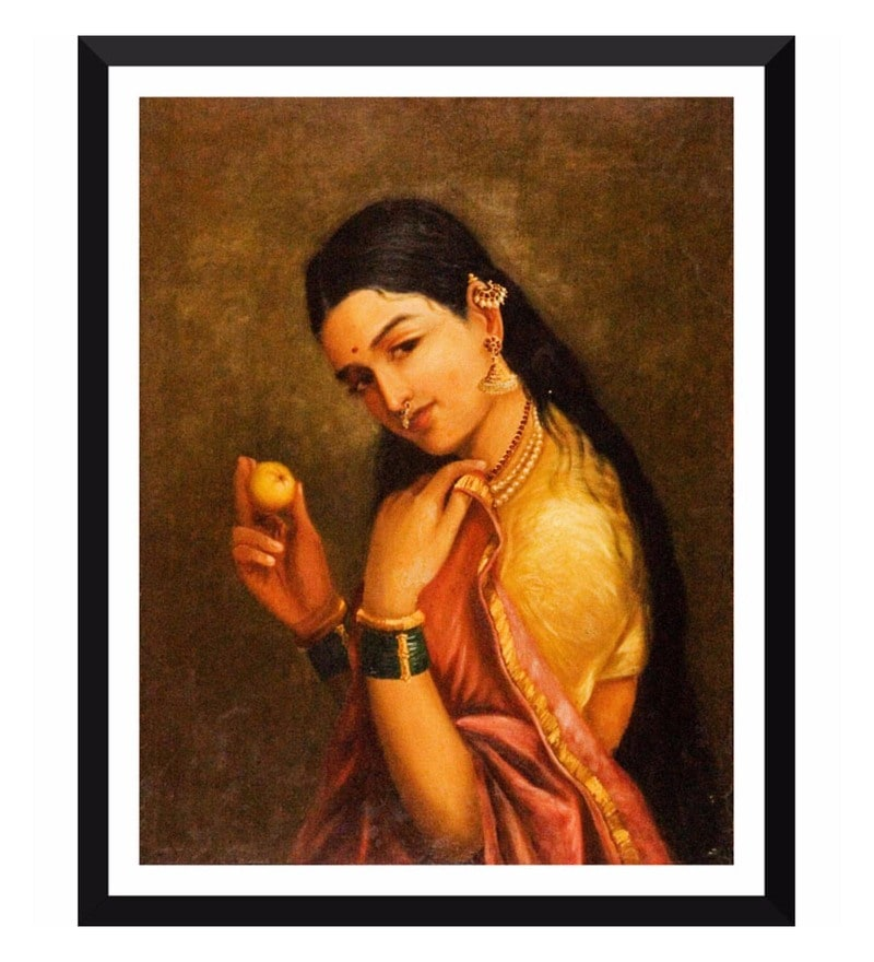 Poster Paper 12 x 15 Inch Indian Art Raja Ravi Varma Woman Holding A Fruit Framed Poster by Tallenge