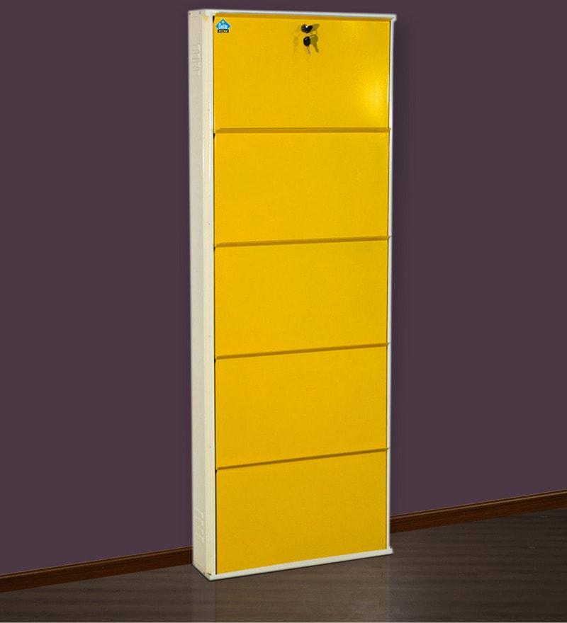 Five Door Powder Coated Metallic Shoe Rack in Beige & Yellow Colour by Delite KOM