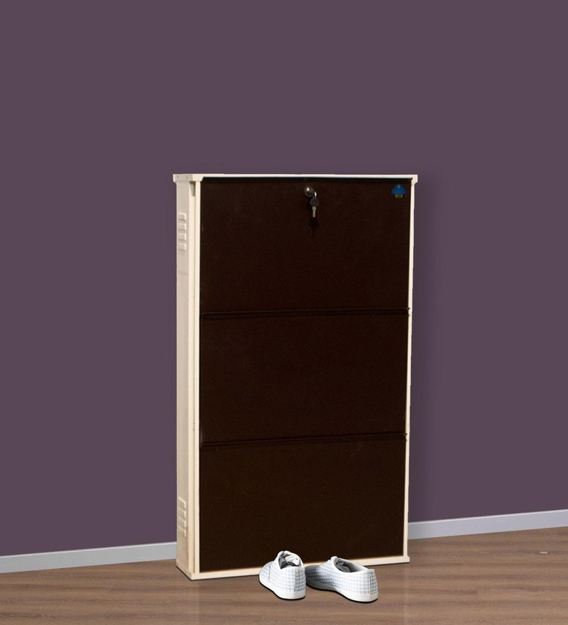 Powder Coated Steel Shoe Rack with Three Compartments by Delite Kom