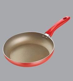 Prestige Omega Gold Induction Base & Non-Stick Aluminum Metallic Red Fry Pan ,220 MM
