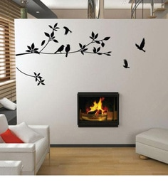 Print Mantras Pvc Wall Stickers Black Tree Branches and Birds at pepperfry