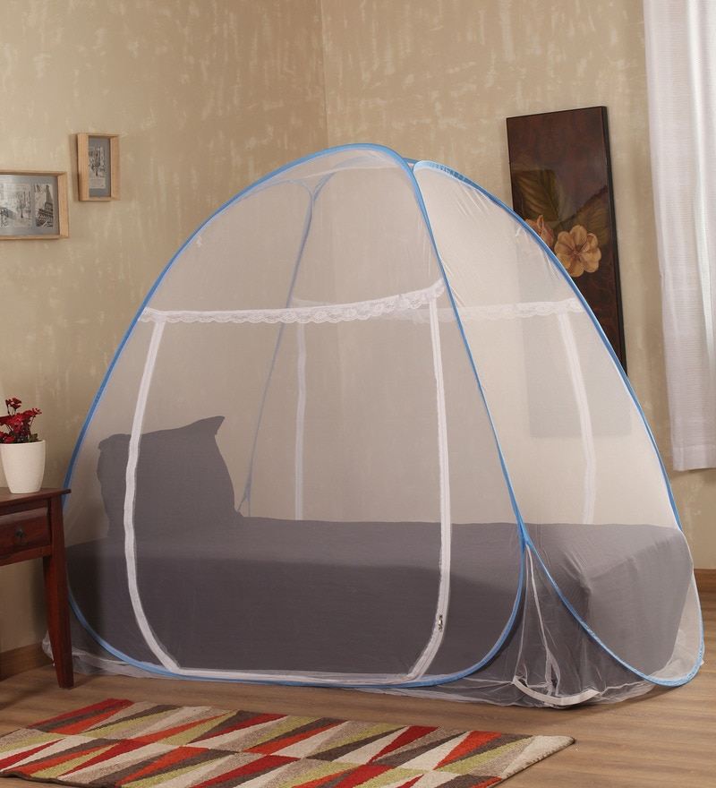 Prc Net Terylene Blue & White Single Bed Mosquito Net