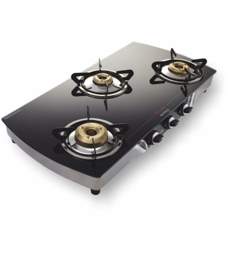 9f422497a Buy Preethi Blu Flame Blaze 3 Burner Auto Ignition Black Lpg Gas ...