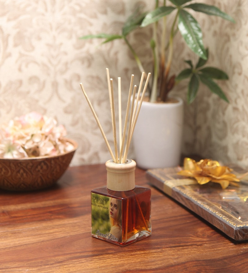 Sweet Bliss Reed Diffuser Bottle with 10 Rattan Reed Sticks by Premsons
