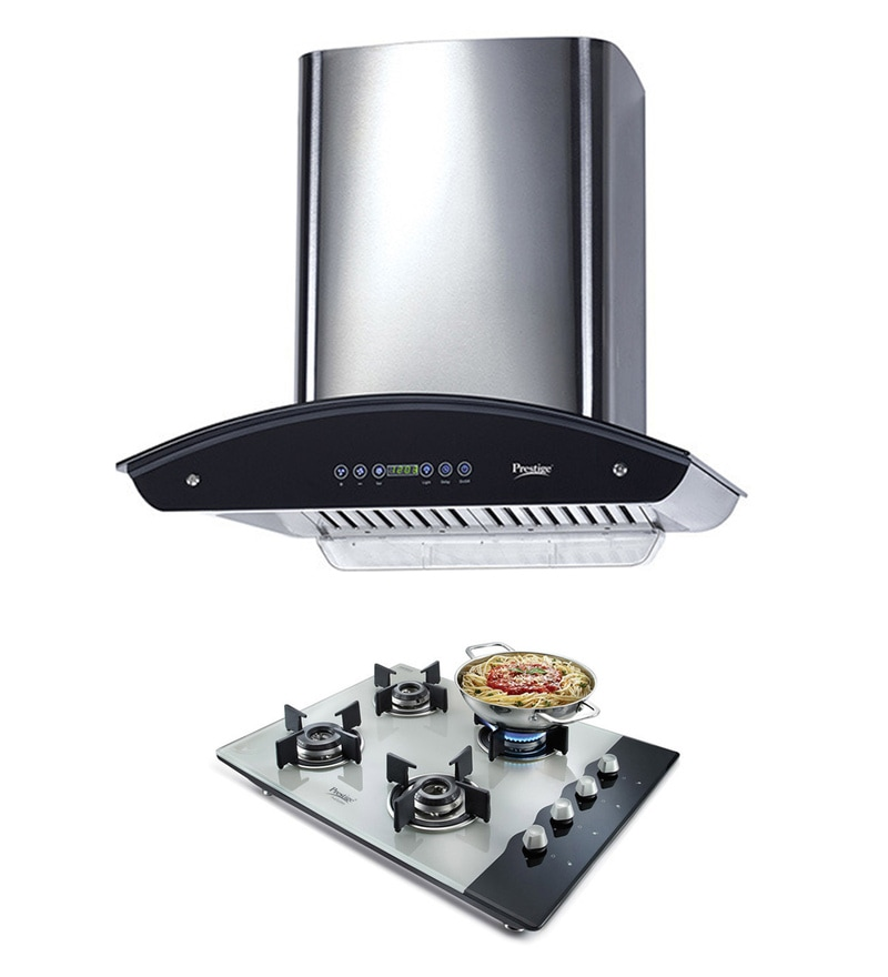 Prestige B-Series 60 cm Hood Chimney & 4 Burner Auto Ignition Hob