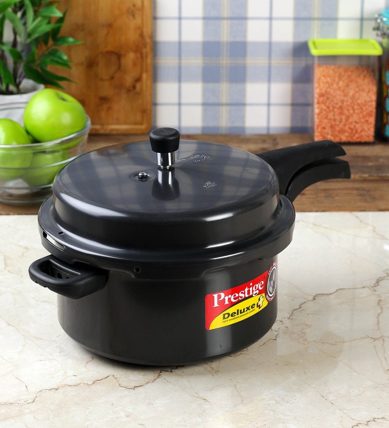 Prestige Deluxe Plus Black Aluminium 7.5 L Pressure Cooker