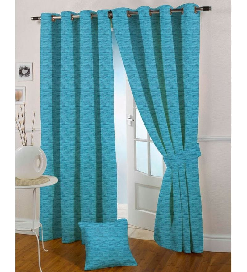 Blue Polyester 108 x 46 Inch Eyelet Door Curtain - Set of 2 by Presto