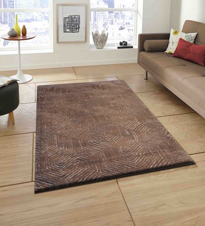 Presto Beige and Brown Polyester Tufted Hand Knotted Abstract Carpet