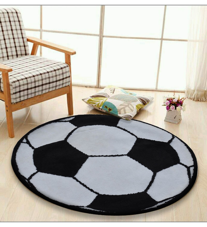 Presto Black and White Polyester Tufted Hand Knotted Football shaped