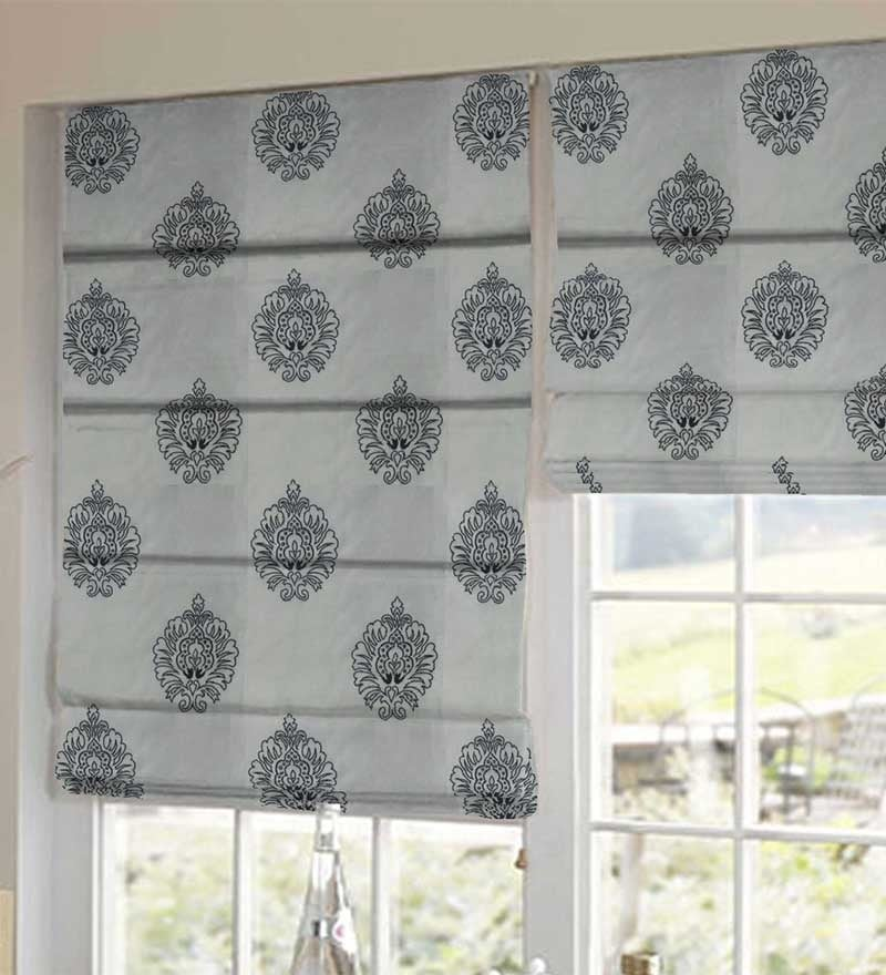 Black & White Polyester Embroidered Window Blind by Presto