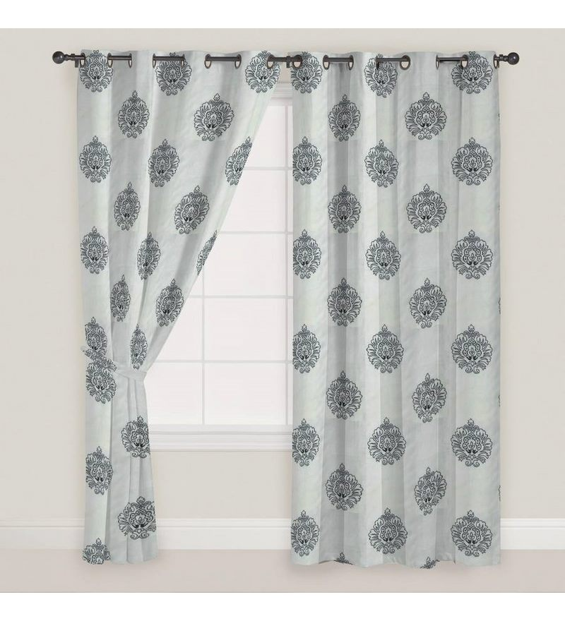 Black Polyester 60 x 46 Inch Motif Pattern Window Curtain - Set of 2 by Presto