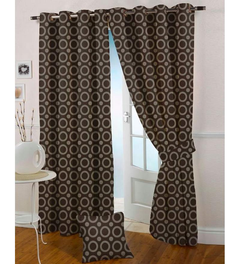 Brown Poly Cotton 47 x 59 Inch Eyelet Window Curtain - Set of 2 by Presto