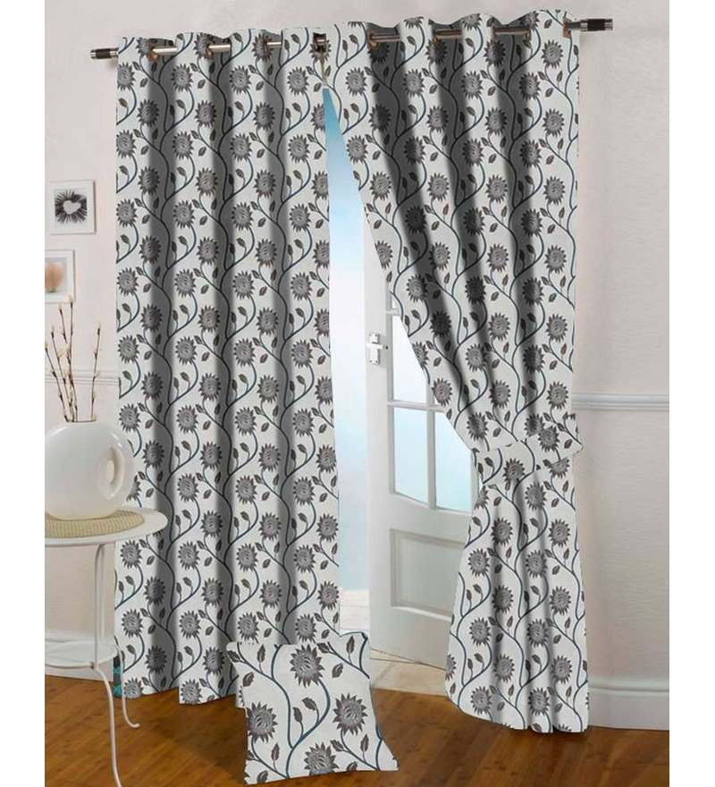 Brown Polyester 108 x 46 Inch Door Curtain - Set of 2 by Presto