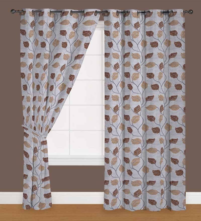 Brown Polyester 60 x 40 Inch Floral Eyelet Window Curtain - Set of 2 by Presto
