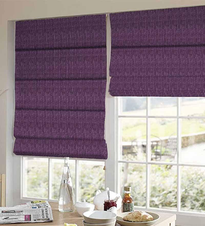 Purple Polyester Striped Window Blind by Presto